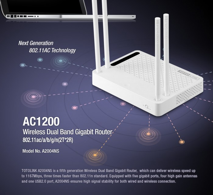 AC1200 Wireless Dual Band Gigabit Router TOTOLINK A2004NS