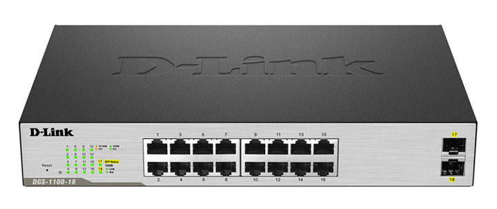 16 Port 10/100/1000Mbps + 2 SFP 1000Mbps Gigabit Smart Switch D-Link DGS-1100-18