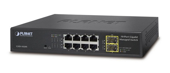 8-Port 10/100/1000Mbps + 2-Port 100/1000X SFP Managed Ethernet Switch PLANET GSD-1020S