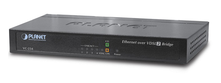 4-Port Ethernet over VDSL2 Bridge (Profile 30a) PLANET VC-234