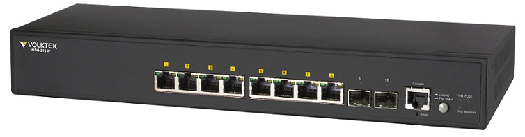 8 Port Gigabit PoE + 2 SFP Full Layer 2 Managed Switch VolkTek NSH-3410P