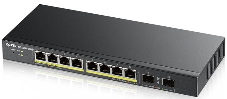 8-port GbE PoE + 2 SFP Smart Managed PoE Switch ZyXEL GS1900-10HP