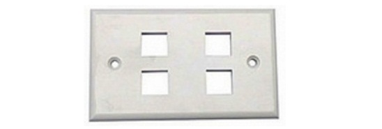 4-port Faceplate UK Style Shuttered Alantek
