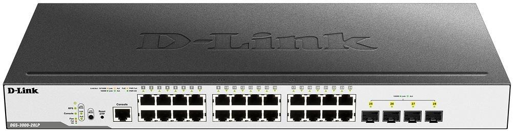 24-port 10/100/1000 Mbps PoE + 4-port SFP L2 Gigabit Managed Switch D-Link DGS-3000-28LP
