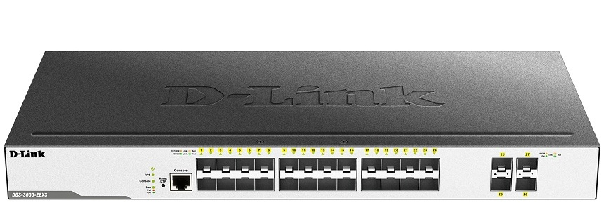 24 SFP ports + 4 10G SFP+ ports L2 Gigabit Managed Switch D-Link DGS-3000-28XS