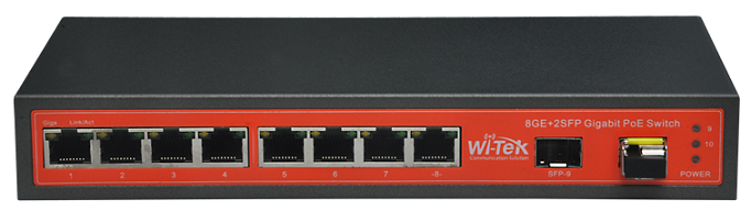 8 port 10/100/1000Mbps 24V PoE Switch WITEK WI-PS310GFR