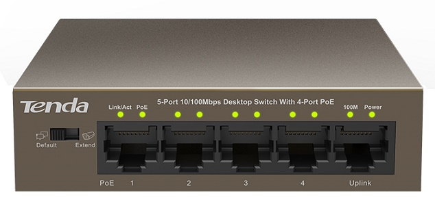 5-port 10/100Mbps + 4-port PoE Switch TENDA TEF1105P