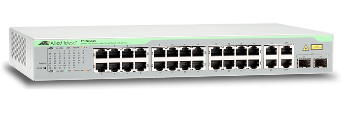 24-port 10/100TX + 2 10/100/1000T + 2 SFP/1000T Switch ALLIED TELESIS AT-FS750/28