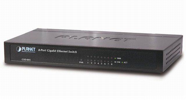 8-Port 10/100/1000Mbps Switch PLANET GSD-805
