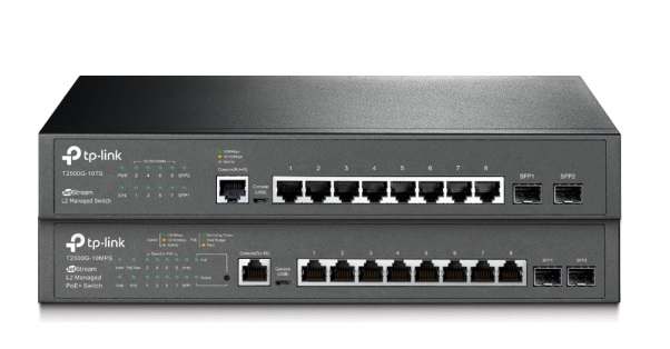 JetStream 8-Port Gigabit L2 Managed Switch with 2 SFP Slots TP-LINK T2500G-10TS