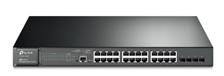 JetStream 24-Port Gigabit L2 Managed PoE+ Switch with 4 SFP Slots TP-LINK T2600G-28MPS