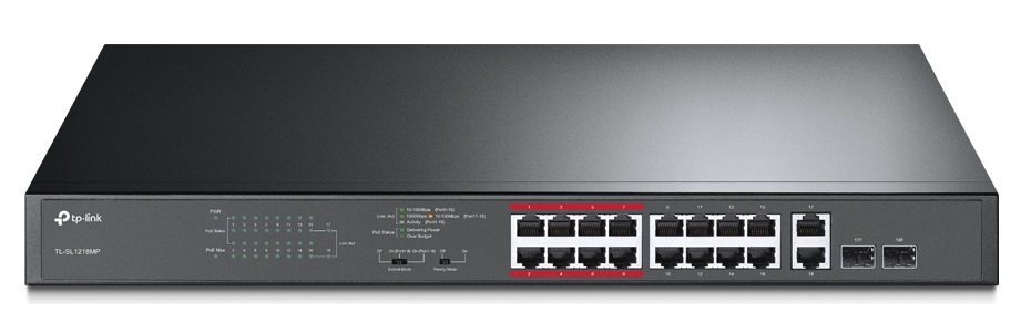 16-Port 10/100Mbps + 2-Port Gigabit Unmanaged PoE Switch TP-LINK TL-SL1218MP