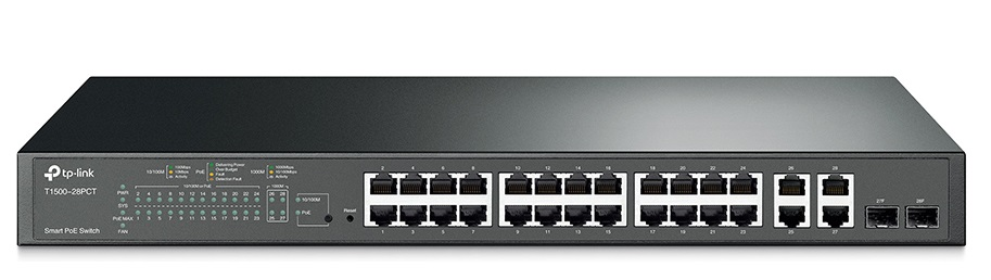24-Port 10/100Mbps + 4-Port Gigabit Smart PoE+ Switch TP-LINK T1500-28PCT
