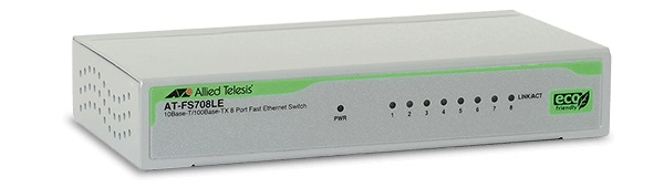 8 port 10/100T Unmanaged Fast Ethernet Switch ALLIED TELESIS AT-FS708LE