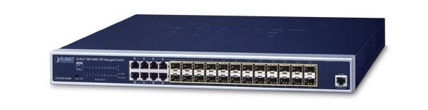 24-port 100/1000X SFP + 8-port Shared TP Managed Switch + AC/DC Power PLANET GS-5220-16S8CR