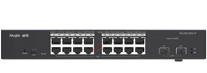 16-port 10/100/1000Base-T PoE Switch RUIJIE RG-ES218GC-P