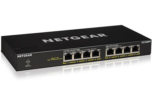 Bộ chuyển mạch 8 cổng Gigabit Ethernet Flex PoE + công suất cao không được quản lý NETGEAR GS308PP