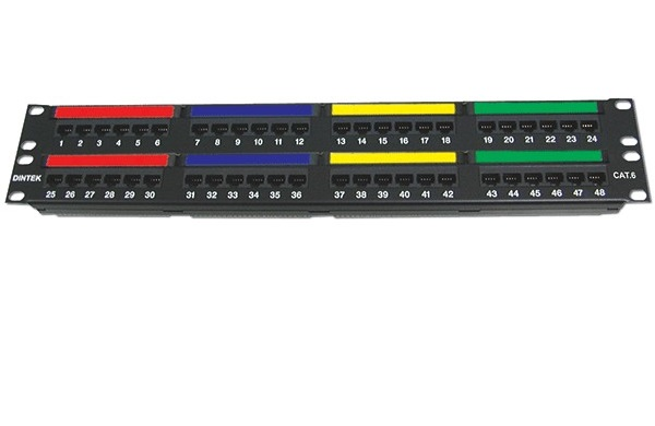Patch panel 48 Port Dintek, CAT.6, 19 inch
