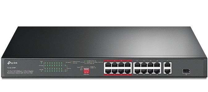 16-Port PoE+ 10/100Mbps + 2-Port Gigabit Switch TP-LINK TL-SL1218P