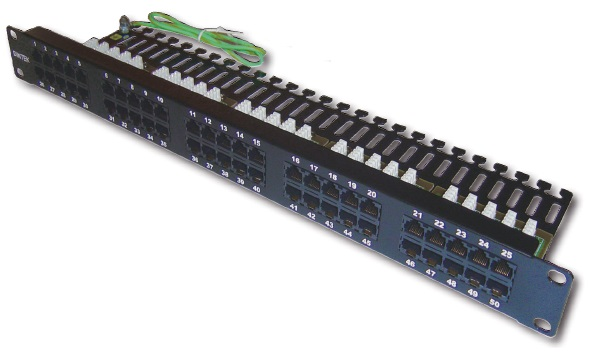 Patch panel for Telephone 50 port Dintek, 19 inch